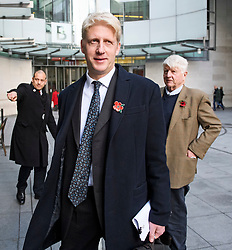 "© Licensed to London News Pictures. 10/11/2018. London, UK. JO JOHNSON MP and his father STANLEY JOHNSON leave BBC Broadcasting House in London after JO JOHNSON resigned as transport minister yesterday. Mr Johnson, brother of former foreign secretary Boris Johnson, resigned his ministerial post saying it's ""imperative we go back to the people and check"" they still want to leave. Photo credit: Ben Cawthra/LNP"