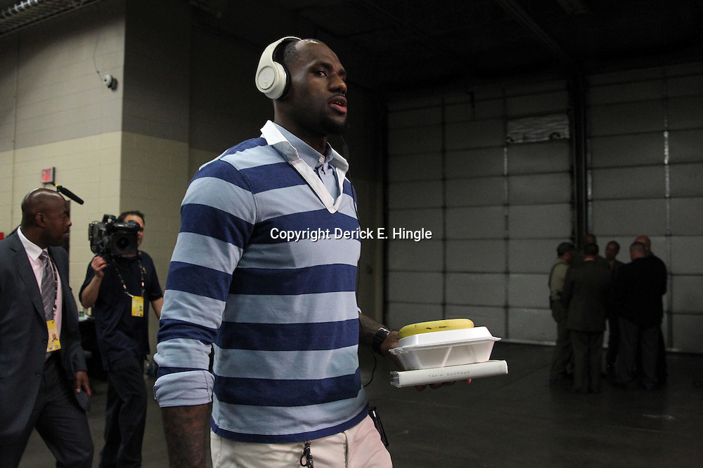 Jun 14, 2012; Oklahoma City, OK, USA;  Miami Heat small forward LeBron James (6) arrives before game two in the 2012 NBA Finals at Chesapeake Energy Arena. Mandatory Credit: Derick E. Hingle-US PRESSWIRE