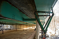 The Meredith Center Bridge underside from the repair work platform.  (Karen Bobotas/for the Laconia Daily Sun)