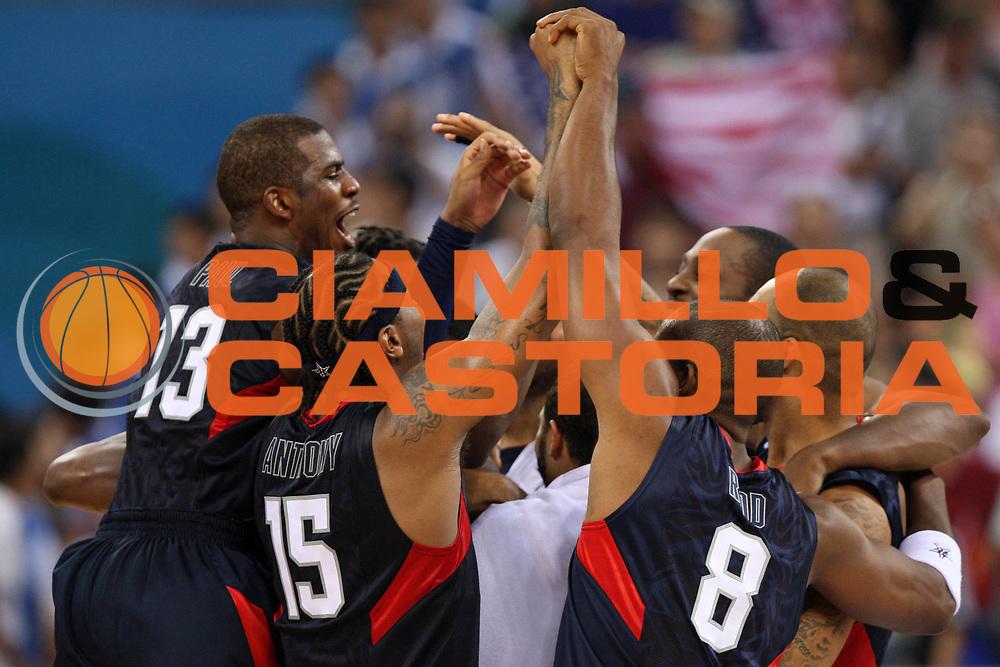 DESCRIZIONE : Beijing Pechino Olympic Games Olimpiadi 2008 Final Gold Medal 1-2 posto place Spain Usa <br /> GIOCATORE : Team Usa <br /> SQUADRA : Usa <br /> EVENTO : Olympic Games Olimpiadi 2008 <br /> GARA : Spagna Usa <br /> DATA : 24/08/2008 <br /> CATEGORIA : Esultanza <br /> SPORT : Pallacanestro <br /> AUTORE : Agenzia Ciamillo-Castoria/E.Castoria <br /> Galleria : Beijing Pechino Olympic Games Olimpiadi 2008 <br /> Fotonotizia : Beijing Pechino Olympic Games Olimpiadi 2008 Final Gold Medal 1-2 posto place Spain Usa <br /> Predefinita :