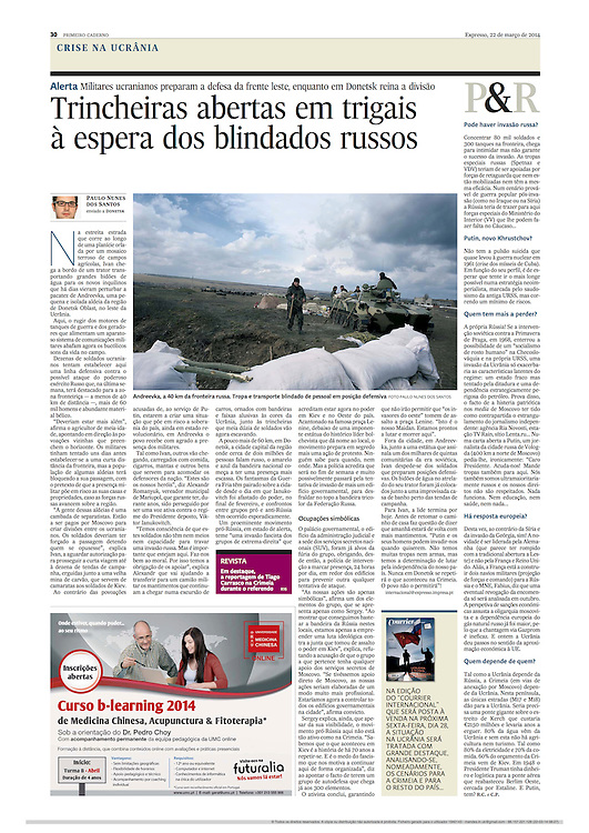 "Tearsheet of ""Ukrainian troops defencive line in eastern border"" published in Expresso"