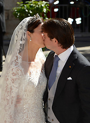 Wedding Of Prince Felix Of Luxembourg & Claire Lademacher, Prince Felix of Luxembourg and his wife German student Claire Lademacher kiss during their wedding at the Saint Mary Magdalene Basilica in Saint-Maximin-La-Sainte-Baume, southern France, September 21, 2013.  Picture by Schneider- Press / i-Images<br /> UK & USA ONLY