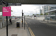 LONDON, ENGLAND - Wednesday 7 May 2014, a general view of the area where the media security screening took place at the entrance to the Queen Elizabeth Olympic Park in Stratford, London, host city of the London 2012 Olympic Games<br /> Photo by Roger Sedres/ImageSA