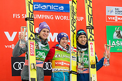 Second placed Andreas Wellinger (GER), winner Stefan Kraft (AUT) and third placed Noriaki Kasai (JPN) celebrate at trophy ceremony after the Ski Flying Hill Men's Individual Competition at Day 4 of FIS Ski Jumping World Cup Final 2017, on March 26, 2017 in Planica, Slovenia. Photo by Vid Ponikvar / Sportida