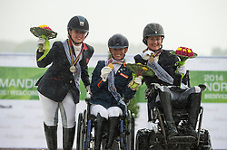 Podium Para Dressage Individual Competition Grade II 1. Rixt van der Horst and Uniek, 2. Natasha Baker and Cabral, 3. Lauren Barwick and Off to Paris - Alltech FEI World Equestrian Games™ 2014 - Normandy, France.<br /> © Hippo Foto Team - Jon Stroud <br /> 25/06/14