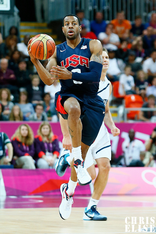 06 August 2012: USA Andre Iguadala makes the no look pass during 126-97 Team USA victory over Team Argentina, during the men's basketball preliminary, at the Basketball Arena, in London, Great Britain.
