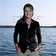 Sarah Palin, photographed for Time, poses near her home in Wasilla, Alaska, in July 2009.<br /> EXCLUSIVLY AVAILABLE ON CONTOUR IMAGES<br /> WWW.CONTOURPHOTOS.COM