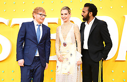 Ed Sheeran (left), Lily James and Himesh Patel (right) attending the Yesterday UK Premiere held in London, UK.