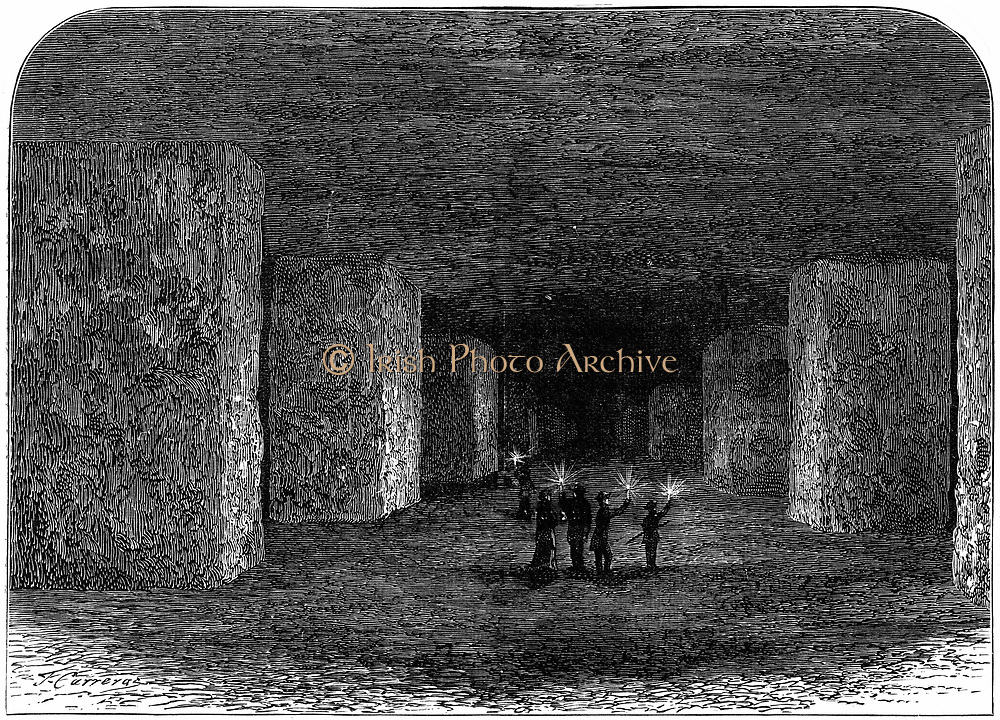 Interior of Marston Salt Mine, Northwich, Cheshire, England, showing how pillars of rock have been left to support the roof. At this date (c.1880)), the mine had been excavated to a height of 16 ft over approximately 40 acres. Engraving