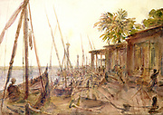 View of the Nile. Watercolour by Hector Horeau (1801-1872) French architect. River viewed through boats tied up at quayside. Egypt.