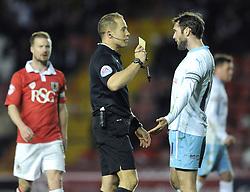 Coventry City's Jim O'Brien receives a yellow card - Photo mandatory by-line: Dougie Allward/JMP - Mobile: 07966 386802 - 10/12/2014 - SPORT - Football - Bristol - Ashton Gate Stadium - Bristol City v Coventry City - Johnstone's Paint Trophy