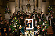 A photograph of Thomas S. Foley at the front of St. Aloysius Church as the Gonzaga Choir sings during the Nov. 1, 2013 memorial for the former House Speaker. (Photo courtesy of Gonzaga University.)