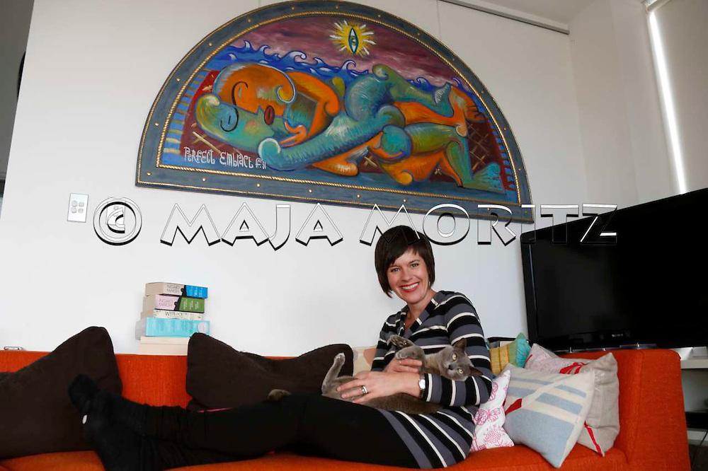 Catherine Robertson at home in Seatoun, Wellington, New Zealand
