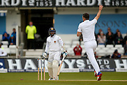 England & Lancashire bowler James Jimmy Anderson  bowls Sri Lanka Kusal Mendis  during day 3 of the first Investec Test Series 2016 match between England and Sri Lanka at Headingly Stadium, Leeds, United Kingdom on 21 May 2016. Photo by Simon Davies.
