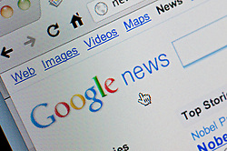 Detail of screenshot from website of Google News website