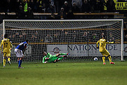 Southport FC Forward Jamie Allen scores a penalty to make it 4-2 during the Vanarama National League match between Southport and Eastleigh at the Merseyrail Community Stadium, Southport, United Kingdom on 17 December 2016. Photo by Pete Burns.