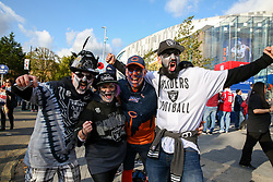 © Licensed to London News Pictures. 06/10/2019. London, UK. Oakland Raiders fans arrive for the NFL (The National Football League) London Games when Oakland Raiders faces Chicago Bears in the first of the two games to be played at the new Tottenham Hotspur Stadium. Photo credit: Dinendra Haria/LNP