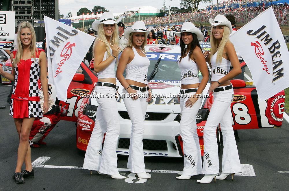 The Jim Beam Girls prior to Race 3 at the Placemaker V8 Supercars in Pukekohe, New Zealand, on Sunday 22 April 2007. Toll HSV Dealer Team's Rick Kelly won race 3 and the series. Photo: Michael Bradley/PHOTOSPORT