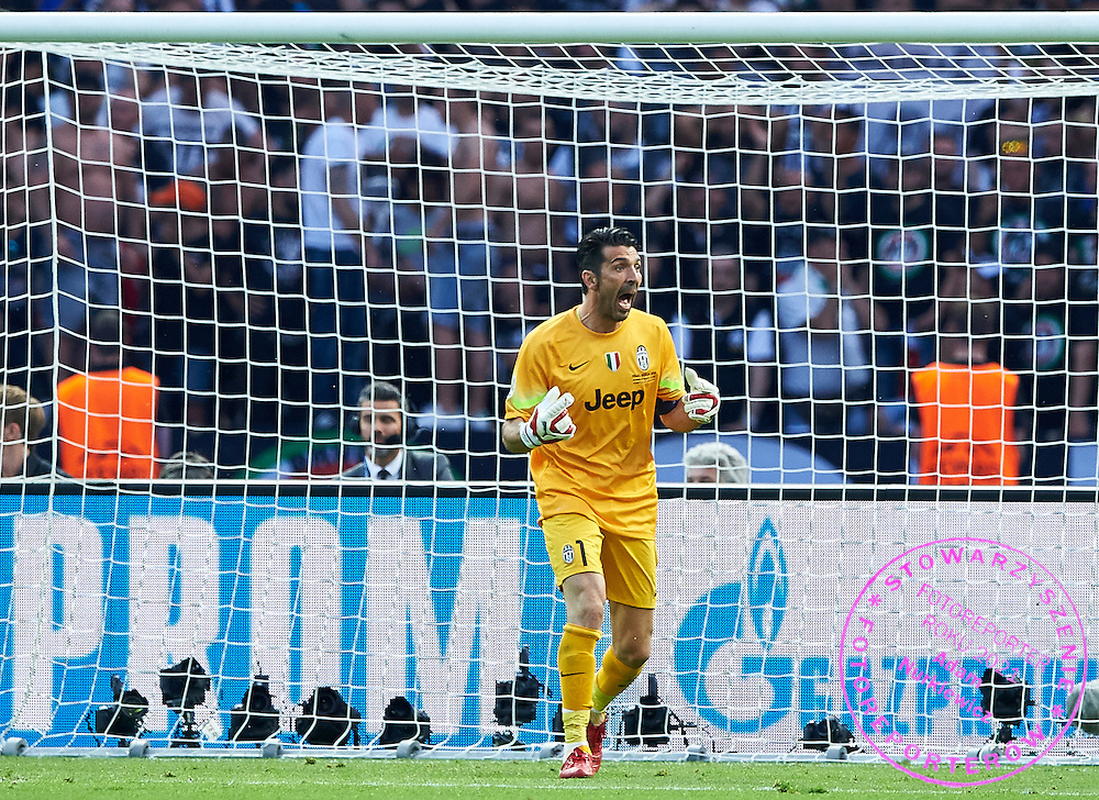 Goalkeeper Gianluigi Buffon from Juventus gestures during the 2014/15 UEFA Champions League Final between Juventus and FC Barcelona at Olympiastadion on June 6, 2015 in Berlin, Germany.<br /> Germany, Berlin, June 6, 2015<br /> <br /> Picture also available in RAW (NEF) or TIFF format on special request.<br /> <br /> For editorial use only. Any commercial or promotional use requires permission.<br /> <br /> Adam Nurkiewicz declares that he has no rights to the image of people at the photographs of his authorship.<br /> <br /> Mandatory credit:<br /> Photo by &copy; Adam Nurkiewicz / Mediasport