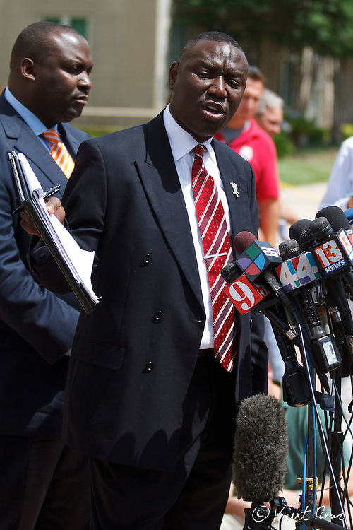 April 20, 2012 - Sanford, Florida, U.S. - Martin family attorney BENJAMIN CRUMP talks to the press after George Zimmerman's bond was set to $150,000 for the murder of Trayvon Martin at the Sanford Criminal Justice Center in Sanford, Florida.