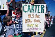 A sign Carter not an actor on the street in West Frankfort, Il. on 10/13/1980<br /> Photo by Dennis Brack