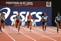 February 7, 2018 - Paris, Ile-de-France, France - From left to right : Lorene Bazolo of Portugal, Mujinga Kambudji of Switzerland , Tatjana Pinto of Germany, Carolle Zahi of France, Rosangela Santos of Brazil compete in 60m during the Athletics Indoor Meeting of Paris 2018, at AccorHotels Arena (Bercy) in Paris, France on February 7, 2018. (Credit Image: © Michel Stoupak/NurPhoto via ZUMA Press)