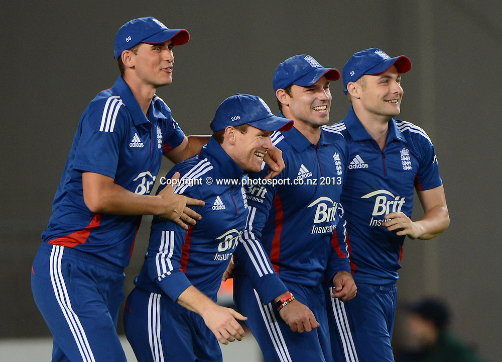 England players celebrate the dismissal of Brendon McCullum. ANZ T20 Series. 1st Twenty20 Cricket International. New Zealand Black Caps versus England at Eden Park, Auckland, New Zealand. Saturday 9 February 2013. Photo: Andrew Cornaga/Photosport.co.nz
