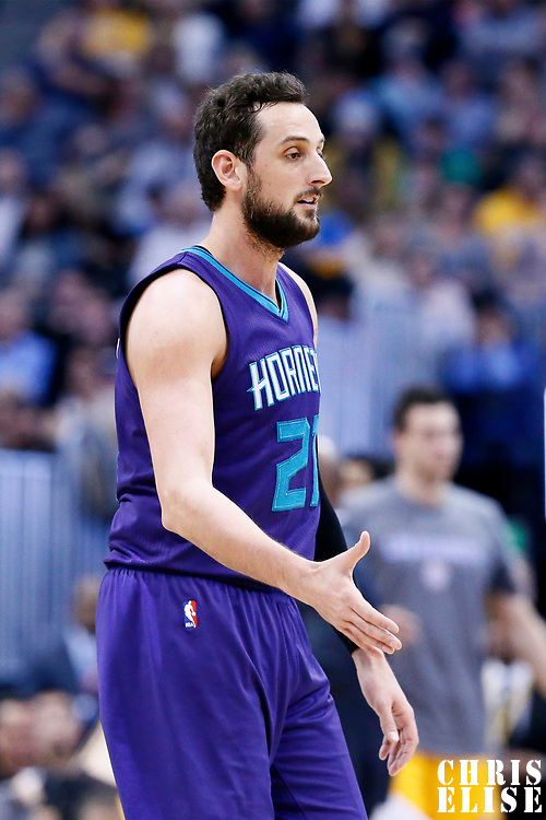 04 March 2017: Charlotte Hornets guard Marco Belinelli (21) is seen during the Charlotte Hornets 112-102 victory over the Denver Nuggets, at the Pepsi Center, Denver, Colorado, USA.