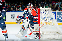 KELOWNA, CANADA - FEBRUARY 6: Cole Kehler #35 of Kamloops Blazers defends the net against the Kelowna Rockets on February 6, 2015 at Prospera Place in Kelowna, British Columbia, Canada.  (Photo by Marissa Baecker/Shoot the Breeze)  *** Local Caption *** Cole Kehler;