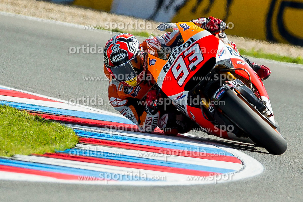 15.08.2014, Automotodrom, Brno, CZE, MotoGP, bwin Grand Prix Ceske Republiky, freies Training, im Bild Marc Marquez (Repsol Honda Team) // during the FP1 of bwin Grand Prix Ceske Republiky of the MotoGP series at the Automotodrom in Brno, Czech Republic on 2014/08/15. EXPA Pictures © 2014, PhotoCredit: EXPA/ Newspix/ Lukasz Skwiot / Foto Olimpik<br /> <br /> *****ATTENTION - for AUT, SLO, CRO, SRB, BIH, MAZ, TUR, SUI, SWE only*****