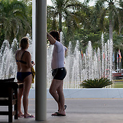 BAVARO, DOMINICAN REPUBLIC-DECEMBER 3, 2014: <br /> Tourist wait for a shuttle bus in the entrance of the all inclusive Barcel&oacute; Premium Adults Only hotel in B&aacute;varo. Story on tourism to the Caribbean Island.  (Photo by Angel Valentin/Getty Images for Der Spiegel)