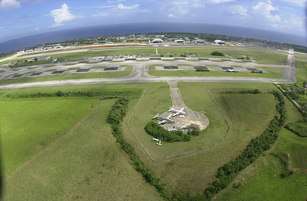 Aerial views of United States Coast Guard  Air Station Borinquen at Rafael Hernandez Airport from a USCG HH-65B helicopter, stationed there in Puerto Rico. The primary mission of Coast Guard Air Station Borinquen is search and rescue. The surrounding area around the airport was Ramey Air Force Base.(U.S. Air Force photo/Master Sgt. Lance Cheung)