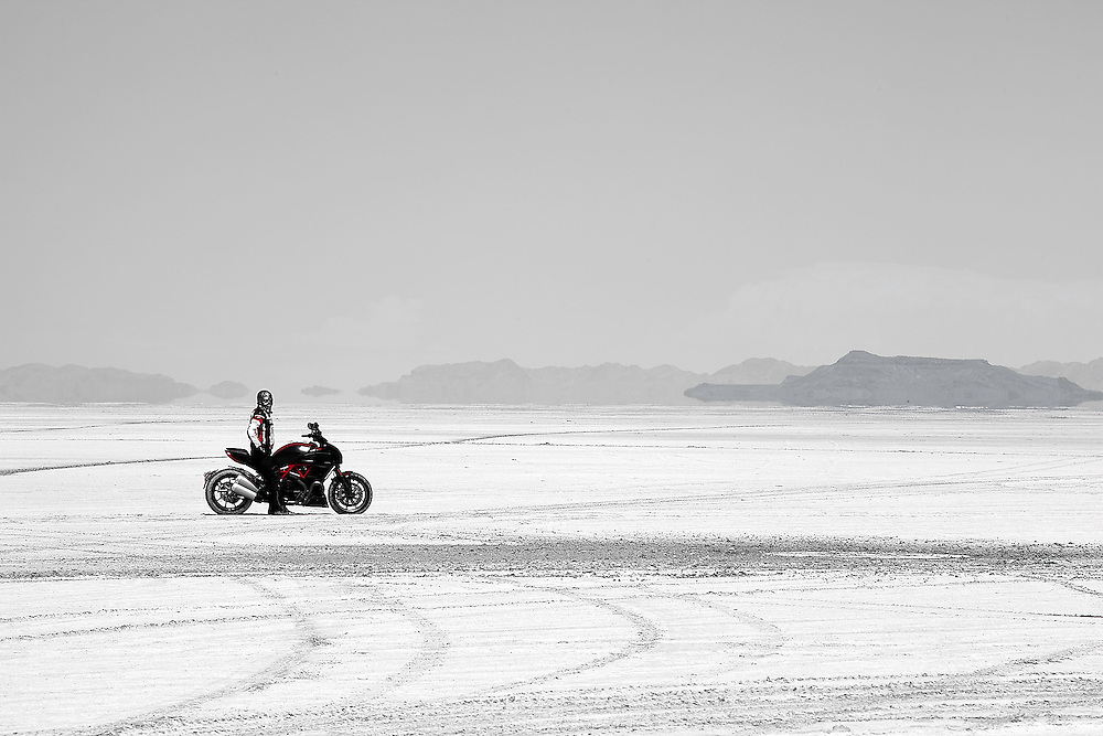 The Race Track<br /> A Ducati super cruiser in <br /> Salt Lake Flats, Utah