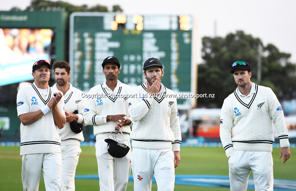 Kane Williamson leads his team from the field after defeat on Day 3 of the 2nd test match between New Zealand Black Caps and South Africa Proteas. International test match cricket. Basin Reserve, Wellington New Zealand. Saturday 18 March 2017. © Copyright photo: Andrew Cornaga / www.photosport.nz