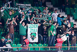 Fans during ice-hockey match between HDD Tilia Olimpija and EHC Liwest Black Wings Linz in 37th Round of EBEL league, on Januar 9, 2011 at Hala Tivoli, Ljubljana, Slovenia. (Photo By Matic Klansek Velej / Sportida.com)