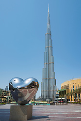 View of the Burj Khalifa skyscraper in Downtown Dubai, UAE