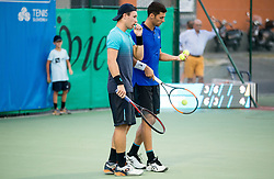 Lucas Miedler (AUT) and Nikola Cacic (SRB) playing doubles Semifinal during Day 7 at ATP Challenger Zavarovalnica Sava Slovenia Open 2018, on August 9, 2018 in Sports centre, Portoroz/Portorose, Slovenia. Photo by Vid Ponikvar / Sportida