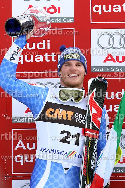 Giuliano Razzoli at first run of 9th men's slalom race of Audi FIS Ski World Cup, Pokal Vitranc,  in Podkoren, Kranjska Gora, Slovenia, on March 1, 2009. (Photo by Vid Ponikvar / Sportida)