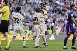 March 16, 2019 - Madrid, Madrid, Spain - Real Madrid's Luka Modric and Alvaro Odriozola seen celebrating a goal (invalid) during La Liga match between Real Madrid and Real Club Celta de Vigo at Santiago Bernabeu Stadium in Madrid, Spain. (Credit Image: © Legan P. Mace/SOPA Images via ZUMA Wire)