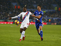 February 23, 2019 - Leicester, England, United Kingdom - Crystal Palace's Michy Batshuay holds of Leicester City's Jonny Evans.during English Premier League between Leicester City and Crystal Palace at King Power stadium , Leicester, England on 23 Feb 2019. (Credit Image: © Action Foto Sport/NurPhoto via ZUMA Press)