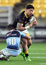 Wellington's Ben Lam tackled by Northland's Dan Hawkins in the Mitre 10 Rugby match at Westpac Stadium, Wellington, New Zealand, Thursday, October 12 2017. Credit:SNPA / Ross Setford  **NO ARCHIVING**