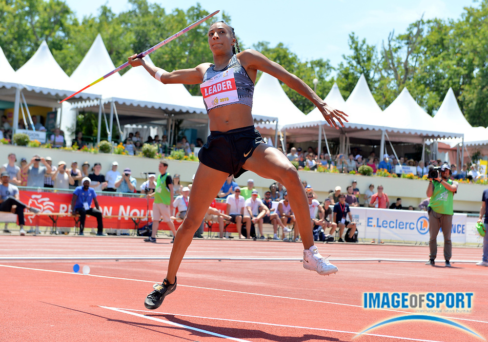 Nafi Thiam aka Nafissatou Thiam (BEL)  throws 155-0 (47.25m) in the heptathlon javelin during the DecaStar meeting, Saturday, June 23, 2019, in Talence, France. Thiam won with 6,819 points. (Jiro Mochizuki/Image of Sport via AP)