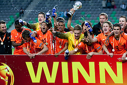 Team Netherlands celebrate during trophy ceremony after winning the UEFA European Under-17 Championship Final match between Germany and Netherlands on May 16, 2012 in SRC Stozice, Ljubljana, Slovenia. Netherlands defeated Germany after penalty shots and became European Under-17 Champion 2012. (Photo by Urban Urbanc / Sportida.com)