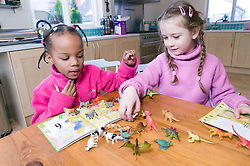 Two little girls playing with toy farm animals,