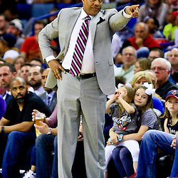 Mar 31, 2016; New Orleans, LA, USA; New Orleans Pelicans head coach Alvin Gentry against the Denver Nuggets during the second half of a game at the Smoothie King Center. The Pelicans defeated the Nuggets 101-95. Mandatory Credit: Derick E. Hingle-USA TODAY Sports