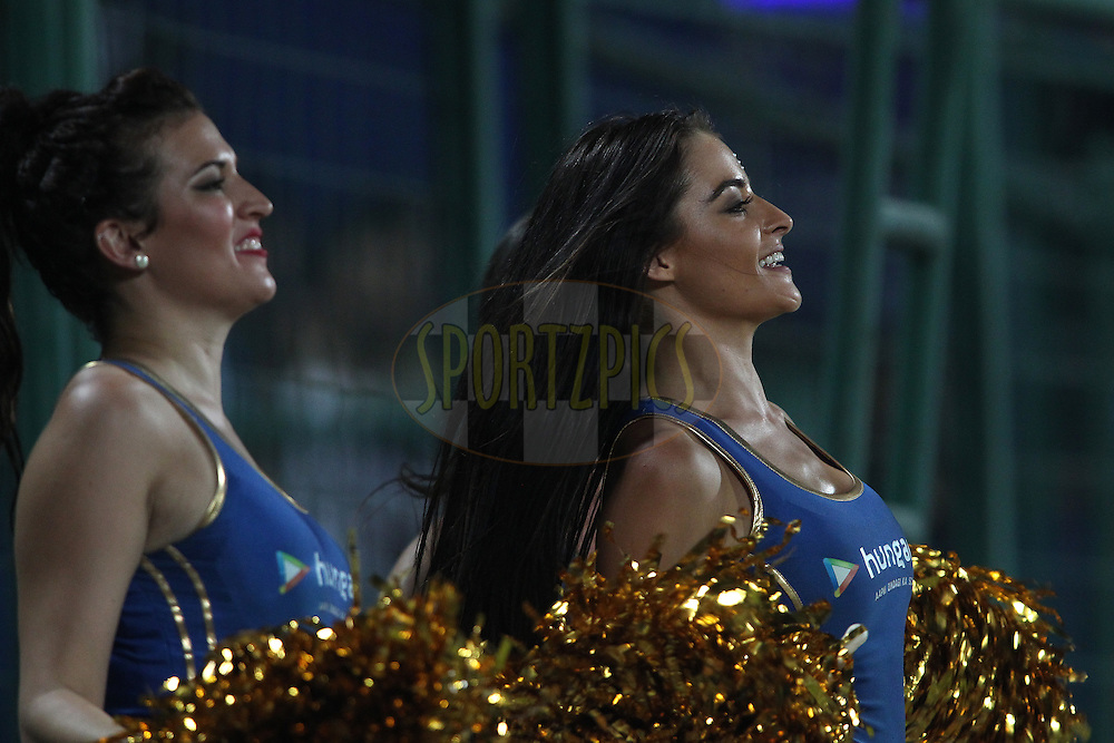 Cheerleaders perform during match 21 of the Pepsi IPL 2015 (Indian Premier League) between The Delhi Daredevils and The Mumbai Indians held at the Ferozeshah Kotla stadium in Delhi, India on the 23rd April 2015.<br /> <br /> Photo by:  Shaun Roy / SPORTZPICS / IPL