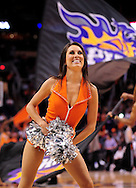 Mar. 23, 2011; Phoenix, AZ, USA; Phoenix Suns cheerleader performs during a game against the Toronto Raptors at the US Airways Center. The Suns defeated the Raptors 114-106. Mandatory Credit: Jennifer Stewart-US PRESSWIRE..