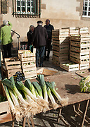 "Rennes, FRANCE. General View GV. Rennes weekly regional market. Brittany,<br /> <br /> ""Large Leeks on display"", sold from stalls in the open and covered market  <br /> <br /> Saturday  26/04/2014 <br /> <br /> © Peter SPURRIER, <br /> <br /> NIKON CORPORATION  NIKON D700  f10  1/400sec  24mm  3.6MB"