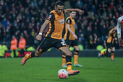 Ahmed Elmohamady (Hull City) makes the clearance during the The FA Cup fifth round match between Hull City and Arsenal at the KC Stadium, Kingston upon Hull, England on 8 March 2016. Photo by Mark P Doherty.