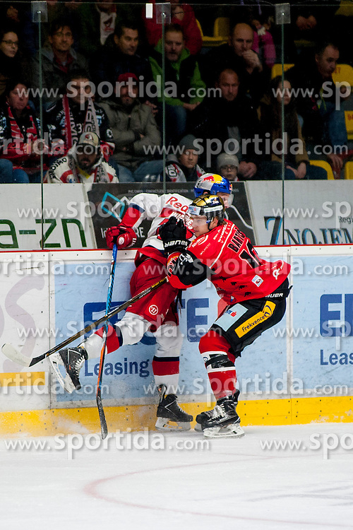 27.11.2016, Ice Rink, Znojmo, CZE, EBEL, HC Orli Znojmo vs EC Red Bull Salzburg, 24. Runde, im Bild v.l. John Hughes (EC Red Bull Salzburg ) David Bartos (HC Orli Znojmo) // during the Erste Bank Icehockey League 24th round match between HC Orli Znojmo and EC Red Bull Salzburg at the Ice Rink in Znojmo, Czech Republic on 2016/11/27. EXPA Pictures © 2016, PhotoCredit: EXPA/ Rostislav Pfeffer
